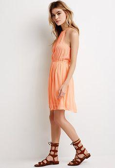Crinkled Crepe Halter Dress | Forever 21