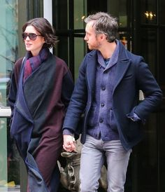 Anne Hathaway and her husband Adam Shulman hold hands as they leave their Soho hotel on January 21, 2015 in New York City, New York.