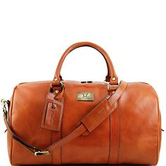 Tuscany Leather TL Voyager  Travel leather duffle bag with pocket on the backside  Large size Honey Leather Travel bags *** Check out this great product.
