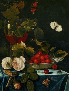 """""""Natura morta con Roemer, fiori e ciliegie"""" 1665 olio su tavola (41x32) Harmen Loeding (Leiden 1637 - 1673)"""