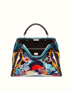 LARGE PEEKABOO embroidered velvet and leather handbag. Ref: 8BN2109CNF01NG
