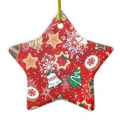 #Retro 50s #Christmas #Cookies and #Snowflakes on RedDouble-Sided Star Ceramic Christmas #Ornament