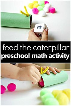 """Create caterpillars out of recycled cardboard tubes and """"feed"""" them to practice some early math skills. This feed the caterpillar spring math activity provides a hands-on way to get children practicing one-to-on correspondence, number recognition, and counting. #preschool #spring #math"""