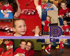 Kindergarten Valentine's party  Bingo  Notice the make your own sundae station used ice cream sandwiches instead of scoops, GENIUS!  make a warm fuzzy  make a ball and string game