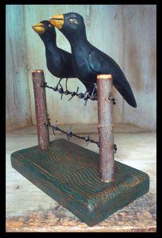 Barbed Wire Fencing, Folk Style, Blackbirds, Folk Fashion, Wood Carving, Folk Art, Traditional, Decor, Wood Sculpture