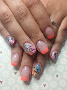 Ibd peach with one stroke flower and butterflies nail art