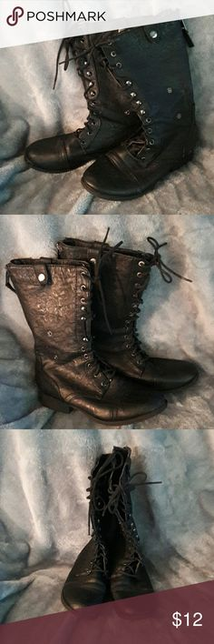 BLACK COMBAT BOOTS Like new. Only worn a few times. Combat and Leather like. Zips in back. Ties in front. Super cute. Shoes Combat & Moto Boots