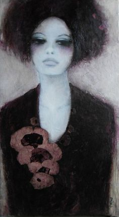 Amazing woman portrait by French painter Carine Bouvard .Bouvard is an artist known for her figurative art and portraits.