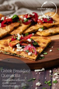 I am always looking for new ways to meal prep breakfast. There is nothing better than getting out of bed and just being able to heat something up real quick and having a nice warm breakfast. On my meal plan this week are these Greek Breakfast Quesadilla w/Spinach and Mushroom, topped with diced tomatoes, olives, and crumbled feta! I mean what better way to start the morning? Budget Freezer Meals, Frugal Meals, Budget Recipes, Healthy Breakfast Meal Prep, Breakfast Recipes, Healthy Meals, Breakfast Quesadilla, Low Fat Cheese, Gluten Free Menu