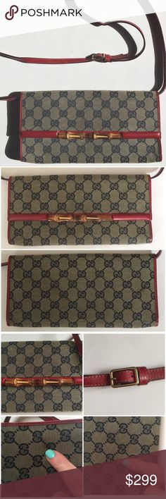 """Gucci Monogram Bamboo Clutch or Purse Wear as a purse or clutch--just unbuckle strap and pull it out the loops in the interior. Magnetic one snap closure, bamboo accent, and red leather interior and trim. Fabric interior with a few minor wear marks. Small interior compartment for credit cards and money. Approx Dimensions: 9.75"""" in length, little under 5"""" in height, and depth about .5"""". Spots I noticed shown in pic 3 are on the back. Made in Italy #1175940959 No bag but will be packaged VERY…"""