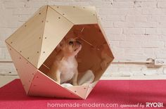 Niches, cages, chenils et parcs chien Diy Dog Bed, Cool Dog Beds, Homemade Modern, Homemade Dog, Dog House Plans, Large Dog Crate, Cool Dog Houses, Niches, Pet Cage