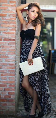Leopard Print Irregular Hem Tube Dress   http://www.pinterest.com/adisavoiaditrev/