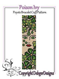 Poison Ivy - Beaded Peyote Bracelet Cuff Pattern