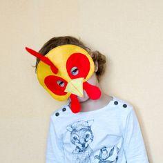 CHICKEN Felt Mask - ROOSTER Mask - Farm Animal mask - toddler kids adult mask - children theater costume