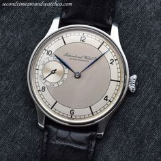 """secondtimearoundwatchco: """"Glorious! Here we have a 1924 Vintage IWC Pocket Watch to Wrist watch Conversion. This examples features a two-tone, silver & grey-colored dial with grey, Arabic numerals and blued-steel, leaf hands. (Store Inventory #..."""