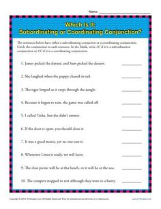 Subordinating and Coordinating Conjunction Practice Activity