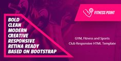 Fitness Point is an HTML template for health sports club personal gym trainer gym gym shop and fitness websites.It is a highly suitable template for fitness companies as well as gyms or sports clubs. It has the purpose oriented design responsive layout and special features like gym shop services courses fitness plans and other pages.  Live Preview  Download