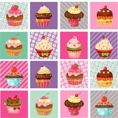 Adesivo de Parede Azulejinho Cupcake Rosa 15x15cm Dona Cereja Cupcake Boxes, Cupcake Wars, Festa Party, Candyland, Kids Meals, Free Printables, Stencils, Card Making, Happy Birthday