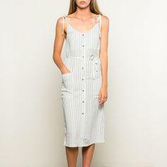 Striped Button-Down Midi Dress with Tied Straps
