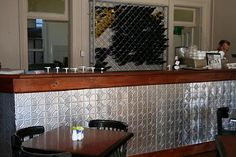 Pressed Tin Counter Project Using Mudgee Panels At Eltons Brasserie Pressed Tin Ceiling, Metal Panels, Tin, Splashback, Mudgee, Counter, Restaurant Interior, Pressed Tin, Paneling