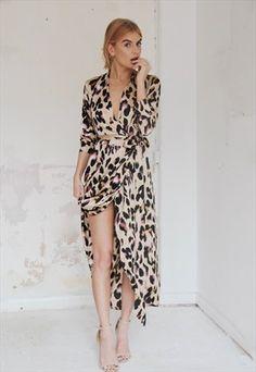 SATIN MAXI LEOPARD DRESS -NEVER FULLY DRESSED