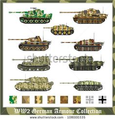 German Panzer Camouflage Patterns | World War 2 German armour collection with applied camouflage - stock ...