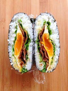 Easy Fried Egg and Pork Sukiyaki Onigirazu (Rice Sandwich)