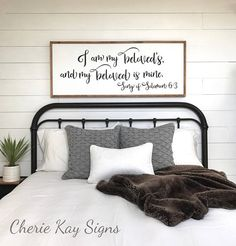 master bedroom sign, I am my beloveds and my beloved is mine, bedroom wall decor  » size appx. 20 x 48 » painted lettering » background color: white » lettering color: black » frame color: brown » this sign is able to be hung by the frame » our signs are made for interior decorating; no clear coat is added » If youd like to purchase more than one sign from our shop, we will package your signs together, (sizes permitting) and refund you whatever extra you paid on shipping. » this sign is also…