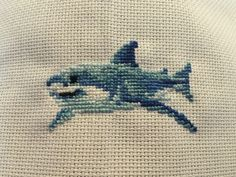 Great White Shark 5 Pattern by 5PrickedFinger5 on Etsy 1st finished cross-stitch of 2016