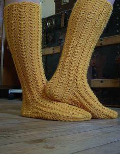 Mountain Colors Cashmere  Bed Sock in Lemon Pattern Fancy Knit Stripe by Nancy Bush