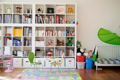 IHeart Organizing: Let's Chat: Expedit Inspiration - stack them 2 tall and put Kasset boxes in the bottom row