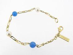 Gouden armbandje met parels en blauwe agaat edelstenen