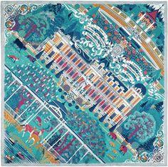 "Silk scarf carré ""Palace of Dreams"" (Hermesvilla Vienna) by Jelena Fiala"