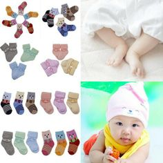 Lovely 3 Pairs Baby Infant Winter Thick Warm Short Soft Toweling Socks 6-12 Months