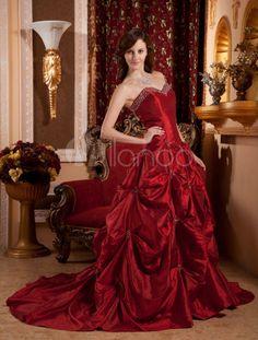 Attractive Burgundy Sweep Sweetheart Taffeta Ball Gown Dress - Milanoo.com