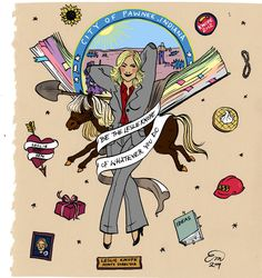 Leslie Knope pin-up art/tattoo art | Emma Munger | Parks and Recreation