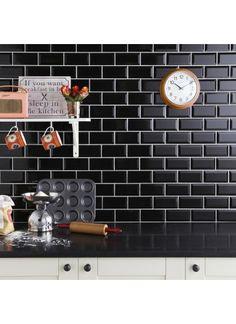 Mini Metro Black Wall Tile Black wall tiles Wall tiles and Walls