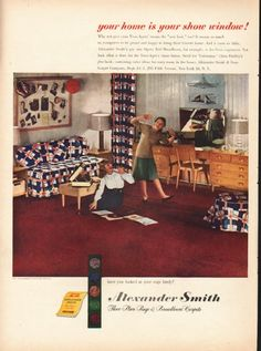 "1948 ALEXANDER SMITH CARPETS vintage magazine advertisement ""your home"" ~ your home is your show window! - Why not give your Teen-Agers' rooms the ""new look,"" too? It means so much to youngsters to be proud and happy to bring their friends home. And ..."