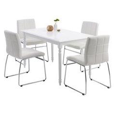 Tafel BROAGER + 4 stoelen wit HAMMEL