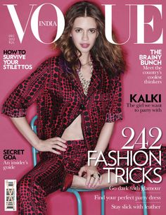 Kalki Koechlin by Tarun Vishwa for Vogue India December 2012 Vogue Magazine Covers, Fashion Magazine Cover, Fashion Cover, Vogue Covers, Fashion Tv, Fashion Story, Fashion Magazines, Vintage Magazines, Vogue Editorial