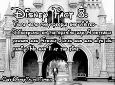Disney Fact There were many people who visited Disneyland on the opening day. A notable person was George Lucas, who was with his family. He was 11 at the time. And now Disney owns Star Wars Disney Cute, Disney Fun Facts, Disney Jokes, Disney Nerd, Disney Dream, Disney Magic, Disney Stuff, Disney World Facts, Creepy Disney