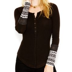 Free People Black Thermal with Cuffs. Weekend$ Absolutely Beautiful and holds up beautifully.! Cuffs are a tweed with Fine wool and acrylic. Cotton and Spandex! 100% Washable ! No offers! Priced to sell! Free People Tops Tees - Long Sleeve