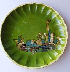 Vintage Mexican Tlaquepaque tourist pottery plate green scalloped plate