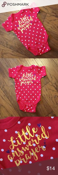 Little Answered Prayer Infant Onesie/Bodysuit 100% cotton tee that fits true to size. The shimmer and glitter will not fade or flake wash after wash and wear after wear! Rabbit Skins One Pieces Bodysuits