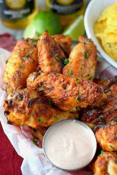 Spicy Ranch Baked Chicken Wings - Food Spicy Ranch Baked Chicken Wings Spicy ranch chicken wings in a basket with dirty ranch sauce Chicken Wing Marinade, Chicken Wing Sauces, Chicken Wing Recipes, Ranch Chicken, Oven Baked Chicken Wings, Grilled Chicken Wings, Crispy Chicken Wings, Air Fryer Chicken Wings, Chicken Drumsticks