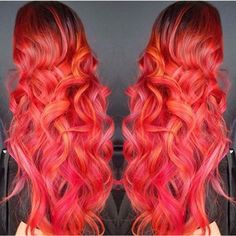 Red hair with pink and orange highlights Pretty Hair Color, Beautiful Hair Color, Fox Hair Dye, Dyed Hair, Artic Fox Hair, Red Pink Hair, Hair Color 2017, Orange Highlights, Natural Hair Styles