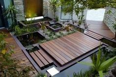 Small Garden Ideas Modern Wood Deck Ornamental Plants