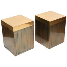 Pair of Brass Patinated Cubes after Gabriella Crespi | From a unique collection of antique and modern footstools at https://www.1stdibs.com/furniture/seating/footstools/