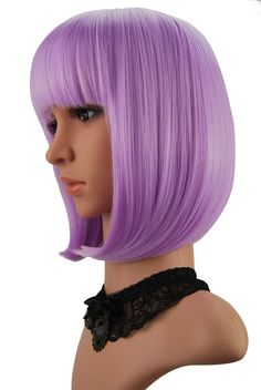 eNilecor Short Bob Hair Wigs Straight with Flat Bangs Synthetic Colorful Cosplay Daily Party Wig for Women Natural As Real Hair+ Free Wig Cap (Lavender Purple - lovely items you bought again - Lilac Hair Short Bob Wigs, Short Hair Wigs, Wigs With Bangs, Short Hair Styles, Full Bangs, Messy Bob Hairstyles, Long Bob Haircuts, Wig Hairstyles, Straight Hairstyles