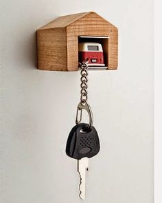 Nag on the Lake: VW Bus Keychain with Wooden Garage.  i will make this.